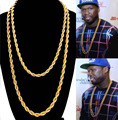 """Gold Finish Stainless Steel Rope Chain Hip Hop Necklace 3mm Thick 30"""" Long"""