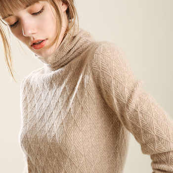 2018 Women Turtleneck Wool Sweaters Autumn-Winter Women Warm Wool Geometric Knitted Fashion Sweaters Casual Pullovers Female - DISCOUNT ITEM  0% OFF All Category