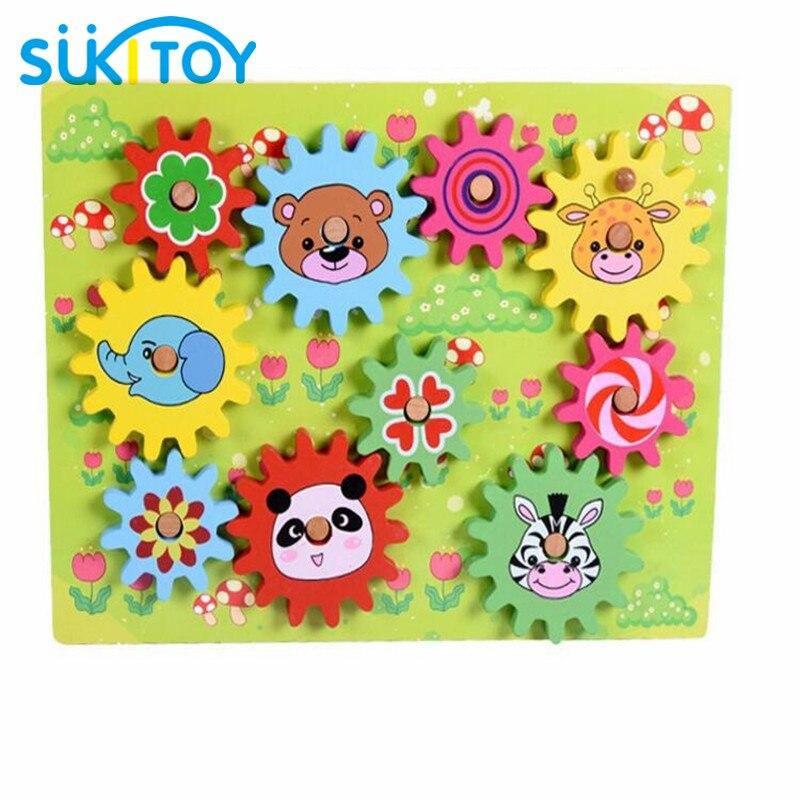 Wooden Gear Toy with Animal Blocks Intelligence Baby DIY Toy Educational Soft Montessori children intelligent creative toys