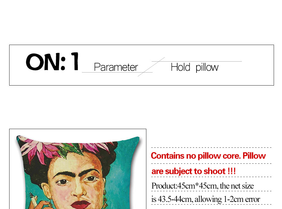 Self-portrait Pillowcase Frida Kahlo Colorful Flower Linen Pillows Square Painting Cushion Cover Sofa Bedroom Home Decorative (1)