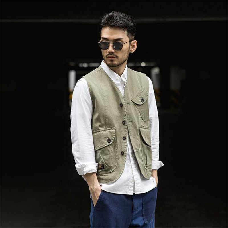 Men Vest Sleeveless Vest Male Casual Vest Men Winter Quality Single Breasted Vests With Many Pockets Large Size XL A5291