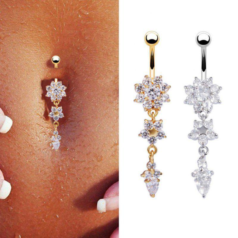 Us 1 95 Medical Steel Crystal Silver Gold Color Flower Navel Belly Button Rings For Women Sexy Alloy Bar Body Piercings Jewelry In Body Jewelry From