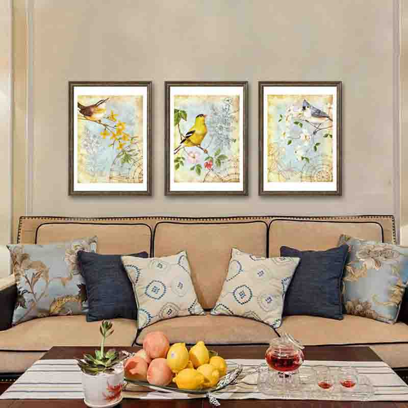 Pastoral Style Graceful Flower and Vivacious Bird Comfortable Confection lively Art Picture Canvas Posters for Home Decoration