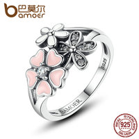 BAMOER 3 Size 100 925 Sterling Silver Pink Heart Flower Finger Ring For Women Fine Wedding