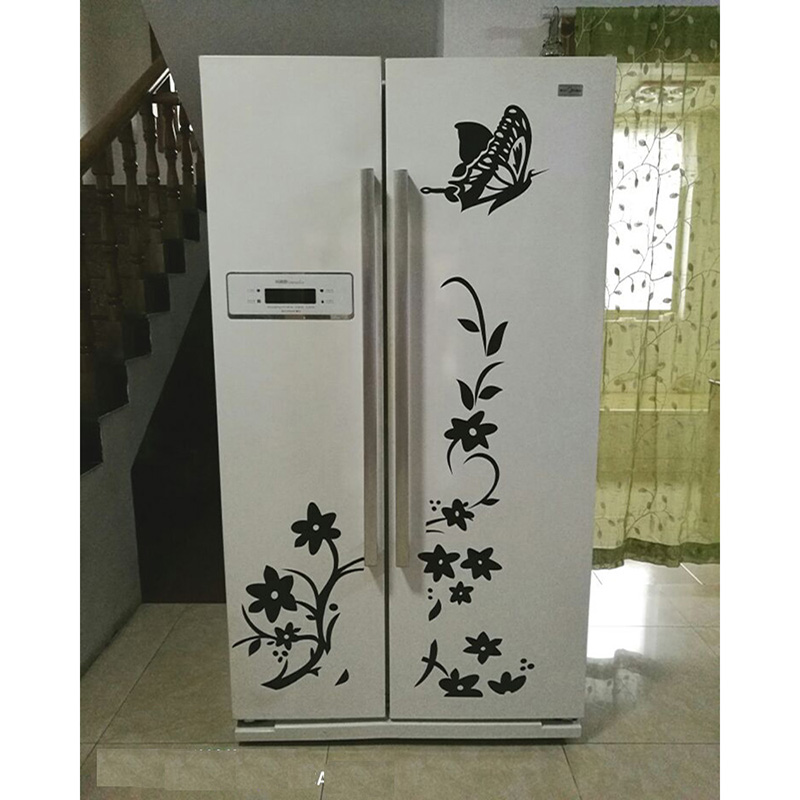 Home & Garden ... Home Decor ... 32763304117 ... 3 ... High Quality Creative Refrigerator Black Sticker Butterfly Pattern Wall Stickers Home Decoration Kitchen Wall Art Mural Decor ...