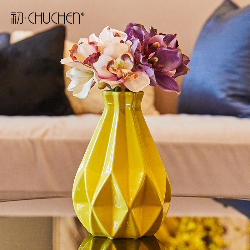 Modern Ceramic vase yellow bottle Small Fresh Vase Tabletop Dried flowers Vases for centerpieces for weddings home decoration in Vases from Home Garden