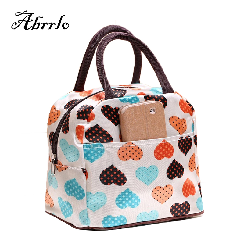 Waterproof Insulated Canvas Lunch Bag Printing Floral Thermal Food Picnic Lunch Bags For Women Kids Men