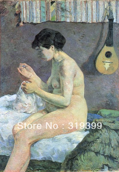Paul Gauguin  Oil Painting Reproduction on Linen canvas,-Study of a Nude (Suzanne Sewing),handmade,Free DHL ShippingPaul Gauguin  Oil Painting Reproduction on Linen canvas,-Study of a Nude (Suzanne Sewing),handmade,Free DHL Shipping