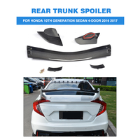 Carbon Fiber and ABS Rear Trunk Boot Race Spoiler Wing for Honda Civic 10th Generation Sedan 4 Door 2016 2017 Car Styling ABS