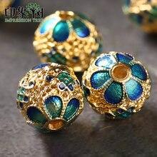 Perles rondes en cuivre 10mm, 5 pièces, gouttes d'huile, entretoises faites à la main pour bijoux à bricoler soi-même composants Bracelet collier accessoires fabrication 27035