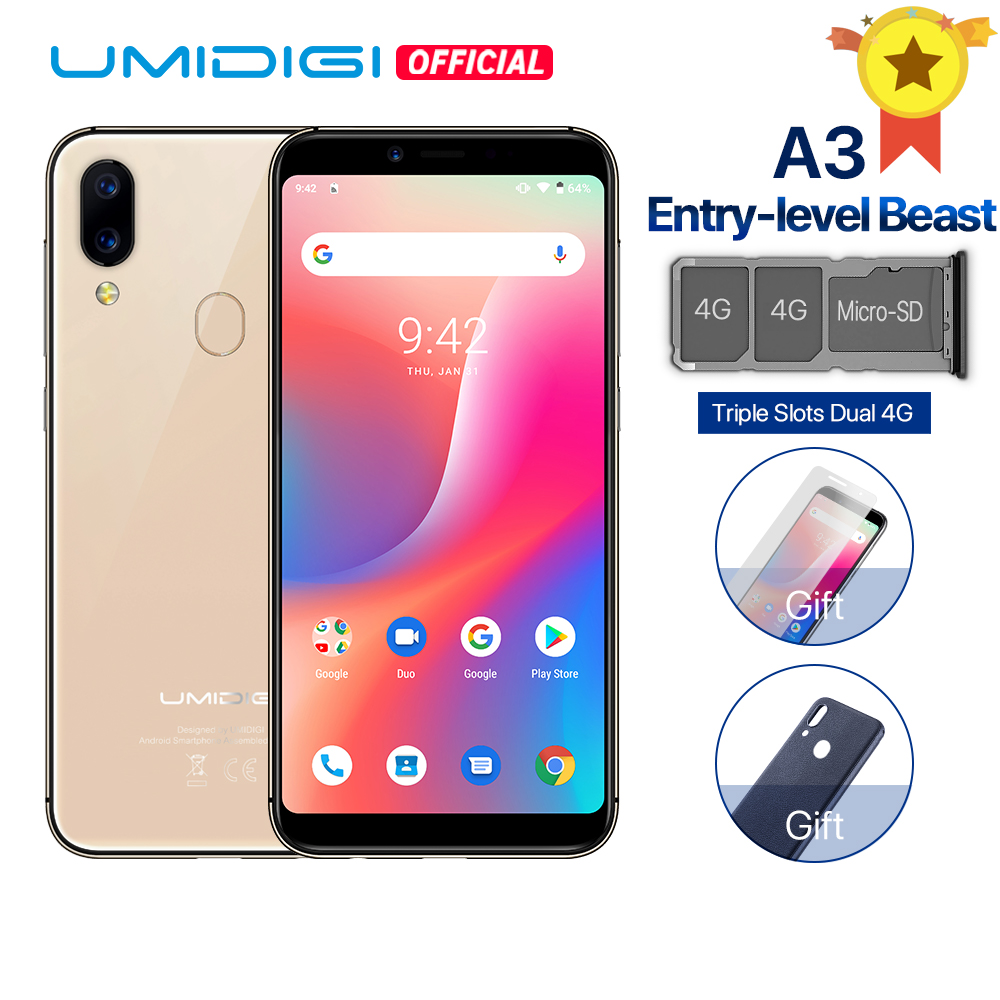 "UMIDIGI A3 Android 9.0 Global Band Dual 4G 5.5""incell HD+display 2GB+16GB smartphone Quad core Face Unlock 12MP+5MP Mobile phone"