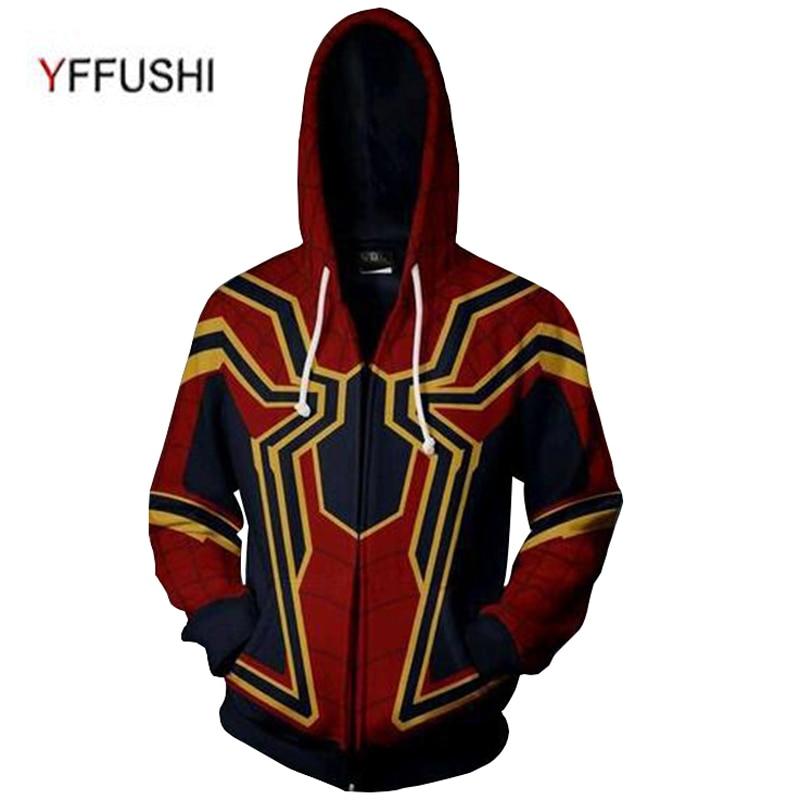 YFFUSHI 2018 Новый 3D куртка на молнии Для мужчин толстовки Мода Паук Для мужчин 3d принт Толстовки с капюшоном на молнии Для мужчин Cospaly толстовка п...