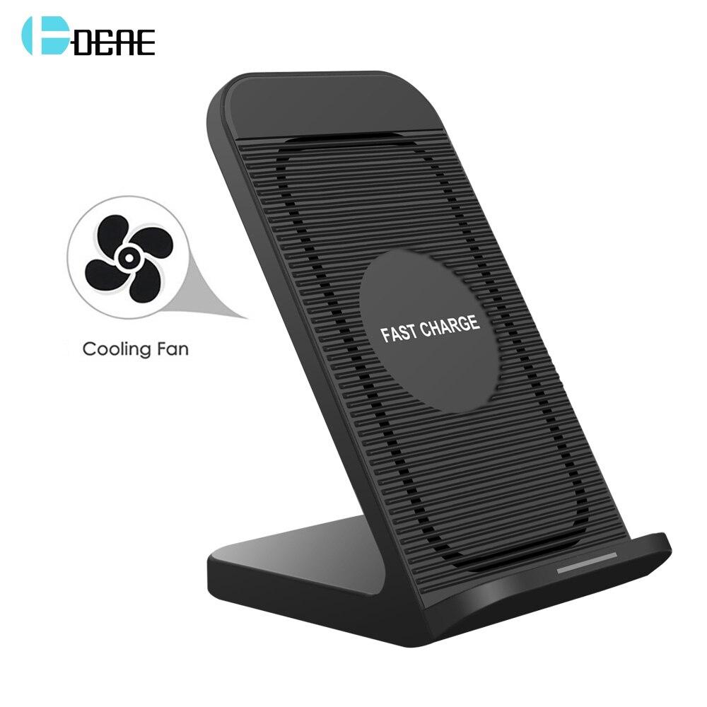 DCAE מהיר צ 'י אלחוטי מטען 10 w מהיר תשלום Stand מחזיק Dock עם מאוורר עבור iPhone 8 X XS מקסימום XR סמסונג S9 S8 בתוספת הערה 9 8