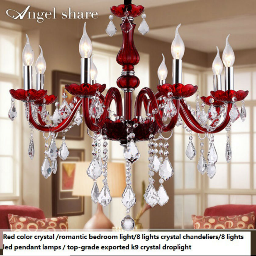 8 lights Red  Crystal candle chandelier /led crystal  romantic wedding fashion european-style bedroom pendant lamp Modern lamp european crystal chandelier lights pendant lamp for dining room bedroom cloakroom stairs