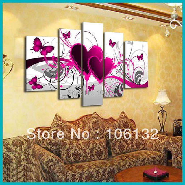 Online Shop Framed 5 Panel Large High End Amazing Red Heart Canvas ...