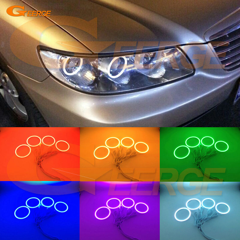 For Hyundai azera 2006 2007 2008 2009 2010 Excellent Angel Eyes Multi-Color Ultra bright RGB LED Angel Eyes kit Halo Rings super bright led angel eyes for bmw x5 2000 to 2006 color shift headlight halo angel demon eyes rings kit