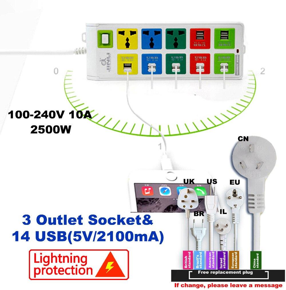 ③La UE Reino Unido ee.uu. Universal power strip USB tira de ...