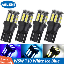 ASLENT 4PCS Super White Ice Bule Car Styling LED T10 194 W5W 10SMD 7020 Light Bulb Parking Auto Wedge Clearance Lamp 12v