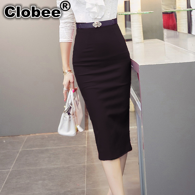 Aliexpress.com : Buy High Waist Black Red Long Pencil Skirt Office ...
