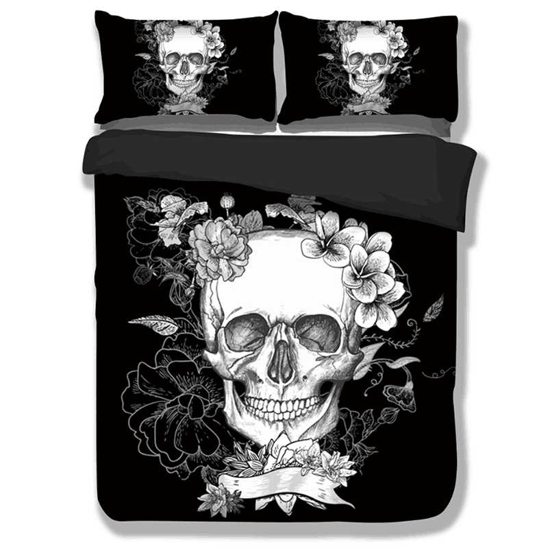 Black Skull head printed Bedding Set Queen King Single sizes Duvet / Quilt Cover set Bed Cover Gothic skeleton bed linens set