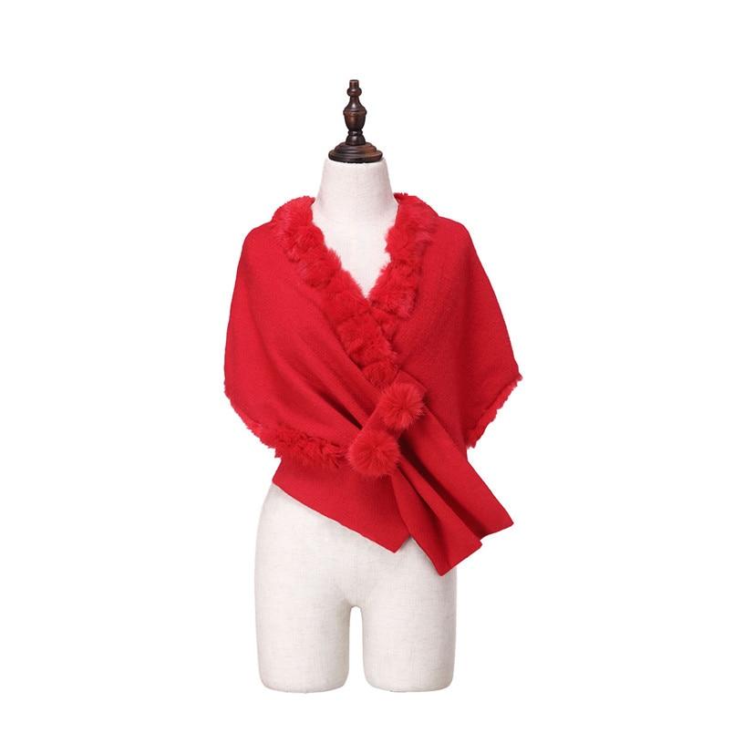 ZY87035 conception spéciale mode automne hiver écharpe en laine avec col de lapin de luxe femmes châle enveloppe Poncho solide - 5