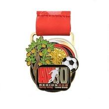 Factory Wholesale Shiny Gold Souvenir Football Medal Engraving Single-sided Logo