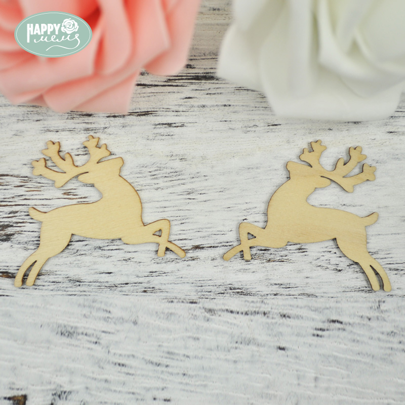 Happymems Wooden Deer Shapes 24PCS/lot Unfinished Wood Shapes Craft DIY Home Decoration Scrapbooking Natural Pine Wood Shape