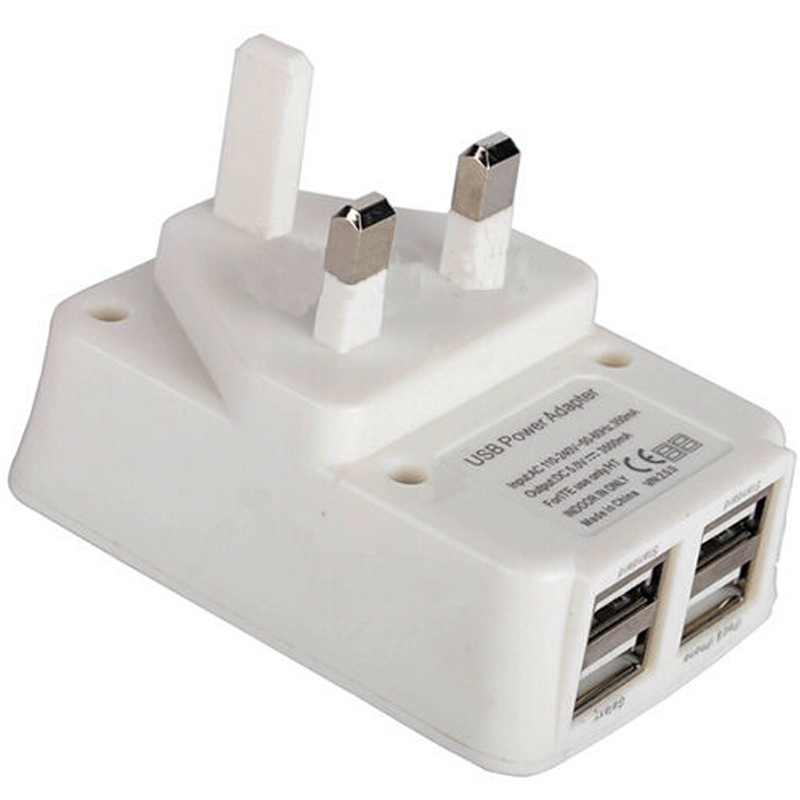 Du4 Port USB Mobile Phone Charger Adapter Plug 3 Pin Wall