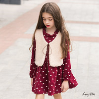 Cute Kawaii Wool Vest Plus Long Sleeve Dress Kids Set Winter Korean Kids Clothes Cotton For 6 8 9 10 11 12 13 14 15 16 Princess