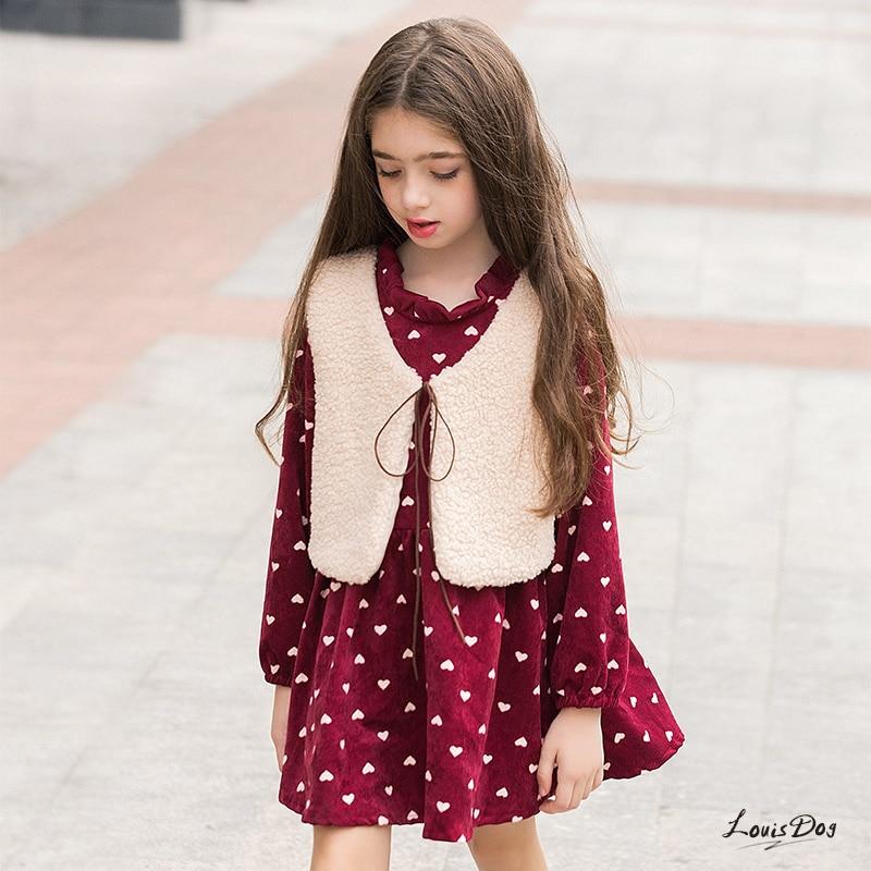 Cute Kawaii Wool Vest Plus Long Sleeve Dress Kids Set Winter Korean Kids Clothes Cotton For 6 8 9 10 11 12 13 14 15 16 Princess футбольная форма other 14 15 real madrid third away black dragon long sleeve kids