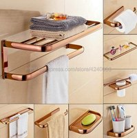 Rose Gold Brass Square Bathroom Hardware Sets Towel Rack Bath Toilet Paper Holder Toothbrush Holder Bathroom Accessories Kxz010