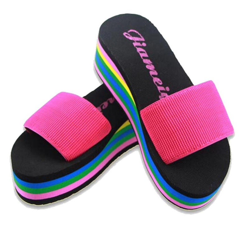 9944 flip flops sandals girls Women Rainbow Summer Non-Slip Sandals Female Beach Popular сланцы popular summer flip flops