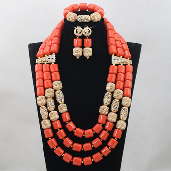 2017 New Indian Women Costume Jewelry Set 3 Layers African Artificial Coral Beads Necklace Earring Bracelet Jewellery Set ABH484