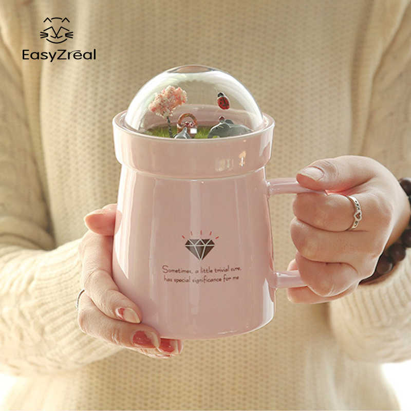 EasyZreal Creative Cartoon Animal Micro Landscape Caneca Milk and Coffee Mug 400mlHigh-capacity Office Ceramic Cups Beauty Gifts