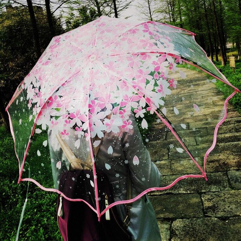 Transparent Umbrella Rain Women Cherry Blossom Mushroom Apollo Sakura Ladies Transparent Umbrellas Women Rain Cute Flower in Umbrellas from Home Garden