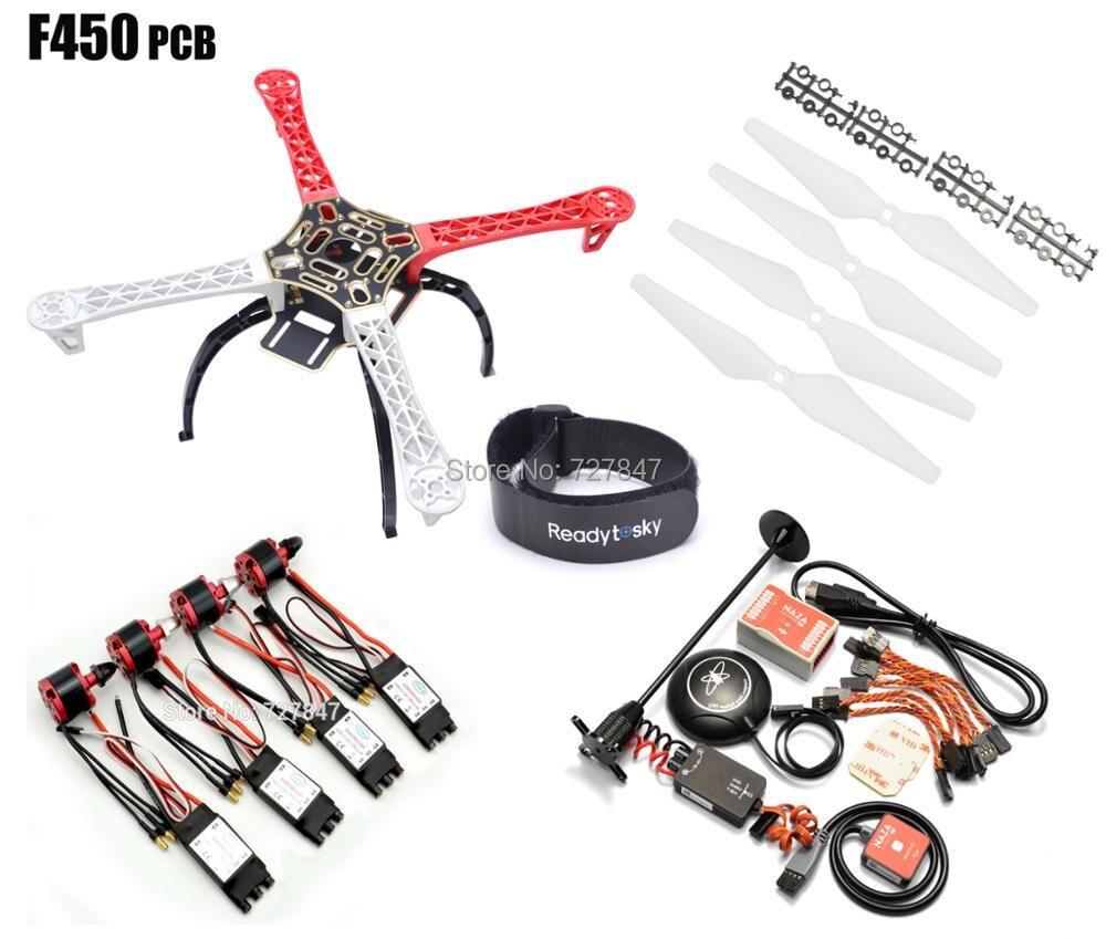 F450 450mm PCB Version Quadcopter Rack Frame Kit + Naza M Lite Flight Controller Board & M8N GPS 2212 920KV Motor 30a Simonk esc f450 multi copter quadcopter rack kit apm2 8 8n m8n gps 2312 920kv motor readytosky 40a opto esc super combo