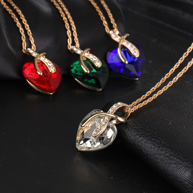 Best Austrian Crystal Heart Pendant Necklace Cheap