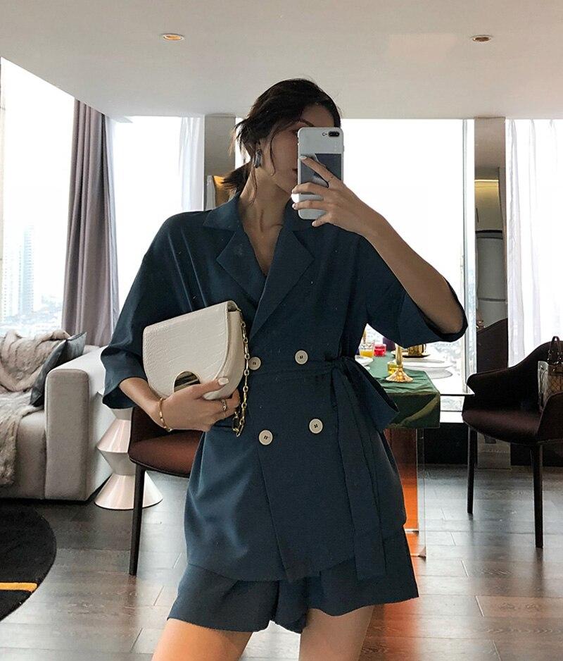 Summer Women Cotton Short Tracksuit Lace Up Jacket Blazer & Elastic Waist Shorts Loose Female Suit with shorts 2 Pieces Set 10
