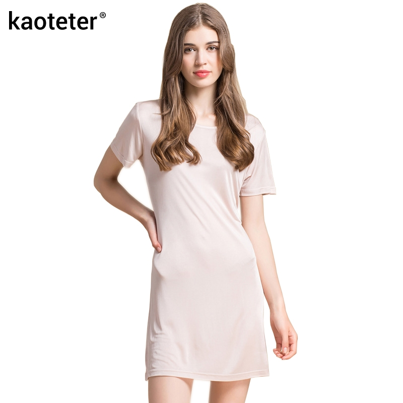 100% Pure Silk Women's Dress New Knitted Silk Female Full Long Dresses Women Summer Home Sleep Wear Woman Casual Cool Clothing