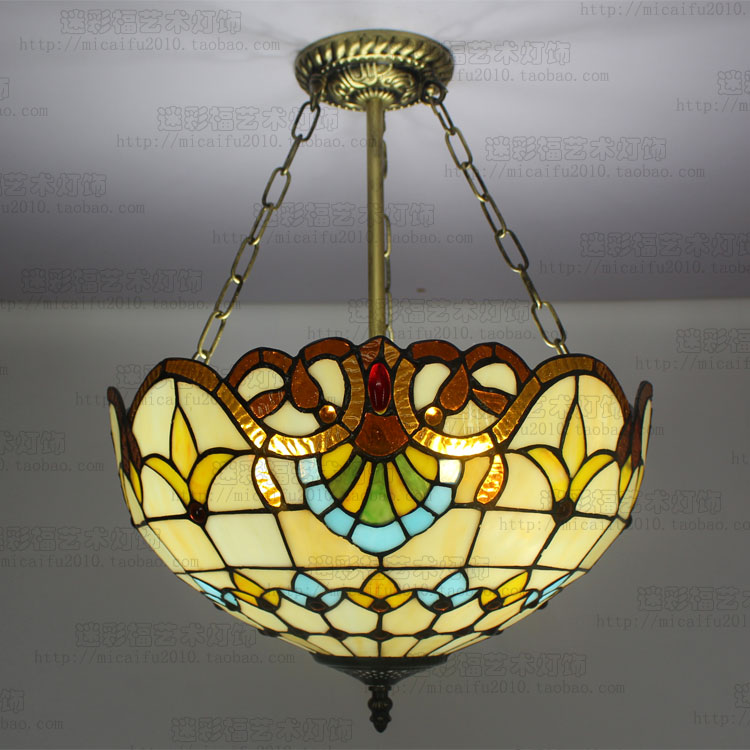 16inch European style retro Baroque Tiffany pendant light stained glass dining room bedroom study reverse hanging  lamps 16inch tiffany style rose glass pendant light bedroom study color glass lamp e27 110 240v