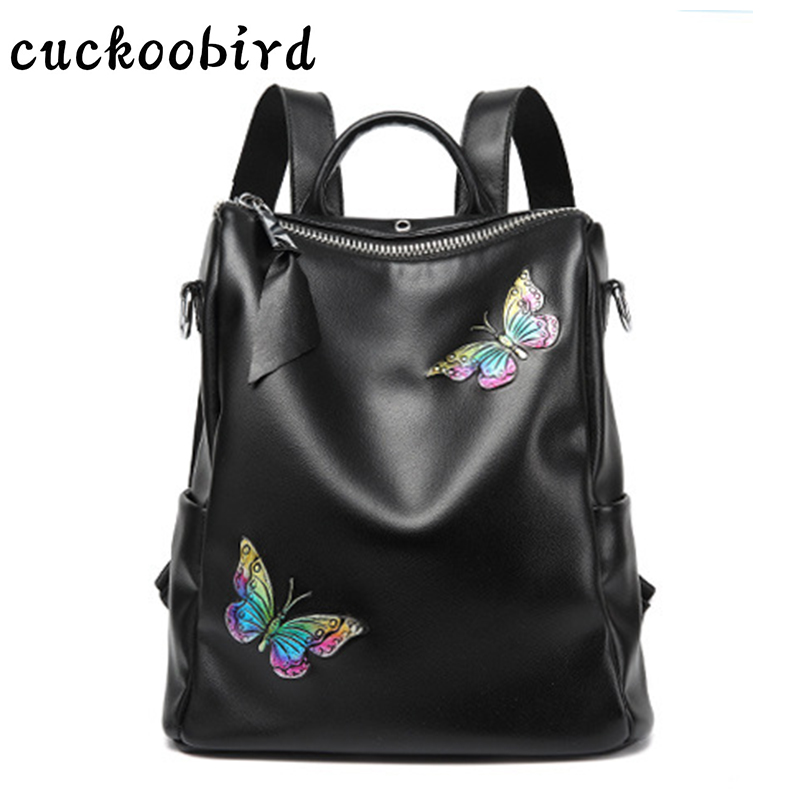 Butterfly Pattern Women's Backpacks Girls School Bags for Female Genuine Leather Women Travel Back Pack Fashion Unique Bags