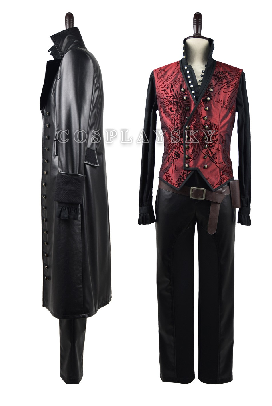 Once Upon A Time Captain Hook Cosplay Costume With Red Vest Halloween Costume for Men_02