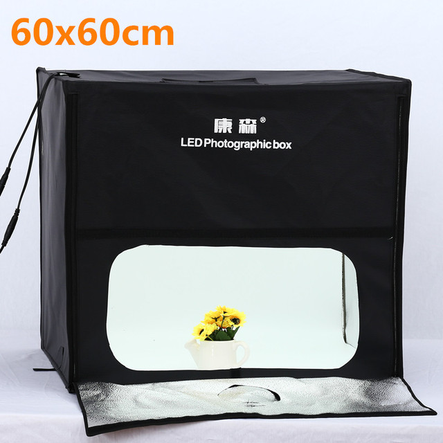 Photo Lighting Studio Shooting 60*60CM Tent Box Kit LED Photo Studio Softbox Shooting Light Tent SoftBox AC Adapter Portable Bag