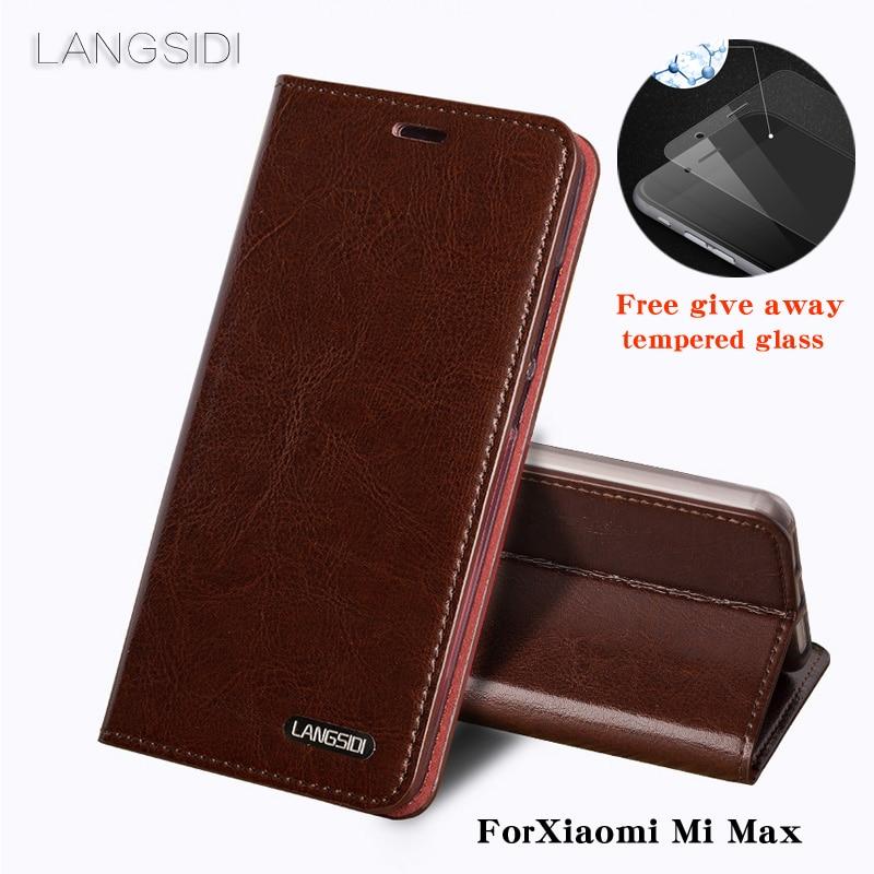Wangcangli ForXiao mi mi Max coque de téléphone huile cire peau portefeuille flip Stand titulaire fentes pour cartes étui en cuir pour envoyer un film de verre de téléphone