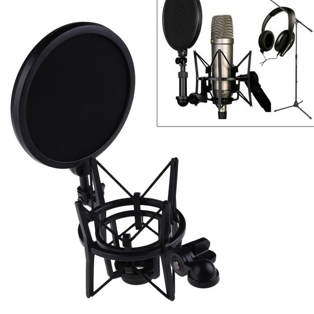 Professional Microphone Mic Shock Mount with Pop Shield Articulating Head Telescoping Height Microphone Mount Holder