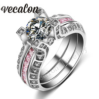Vecalon 3 Colors 5ct AAAAA Zircon Cz 2 In 1 Engagement Wedding Band Ring Set For