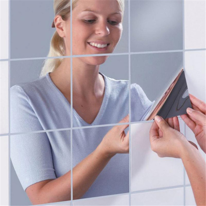 10pcs Akrilik Square Mirror Stickers 15 * 15cm Kombinasi Pelekat Wall Removes Dropshipping