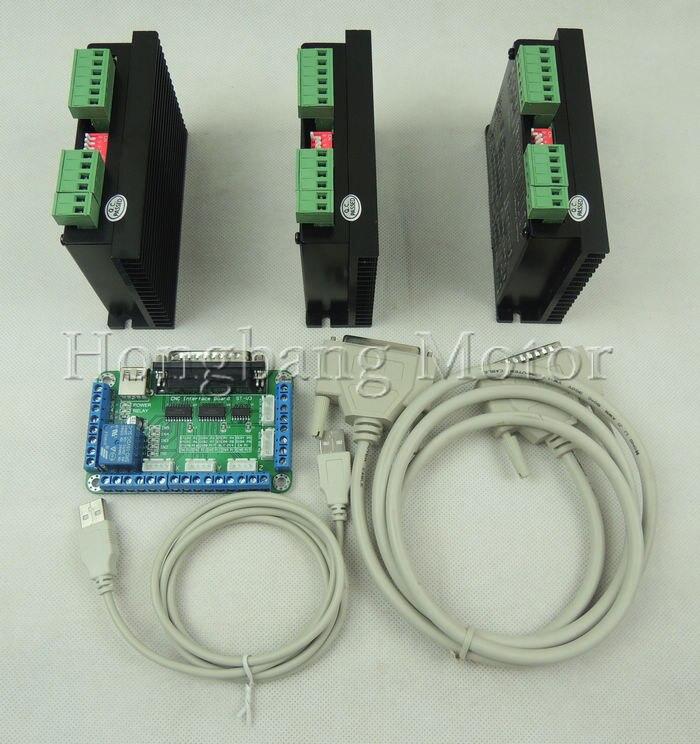 Бесплатная доставка ЧПУ 3 оси комплект, TB6600 3 оси 4.5a Драйвер шагового Контроллеры двигателей комплект для Mach3 + 5 оси коммутационная плата