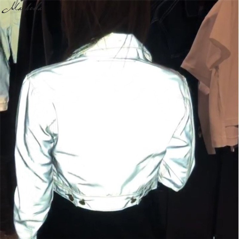 HTB1Y5XUX42rK1RkSnhJq6ykdpXa3 Macheda Fashion Women Reflective Turn-down Collar Buckle Drawstring Jackets Long Sleeve Cropped Coat Ladies Basic Jacket Ne'w