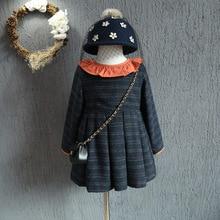 2016 новые южнокорейские девушки плюс хлопка с длинным рукавом платье falbala воротник шотландка бесплатная доставка